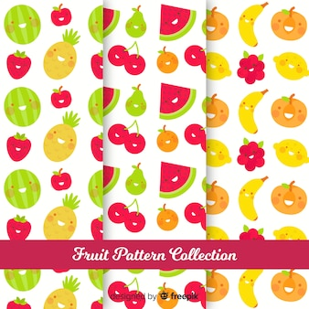 Hand drawn fruit pattern collection