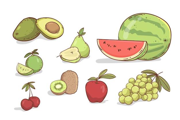 Hand drawn fruit set