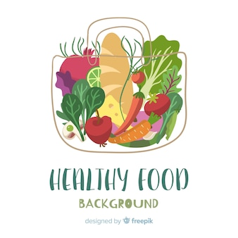 Hand drawn fruit and vegetable background