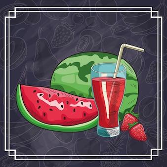 手描きの果物や飲み物