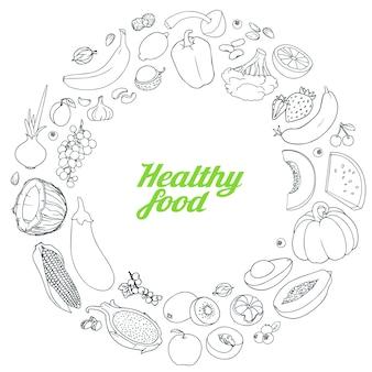テキストイラストのための場所で描かれた果物や野菜の背景を手します。スケッチ落書きセット。白い背景の上の円として配置された様々な手描きの食べ物。
