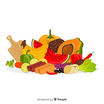 Hand drawn fruits and vegetables background