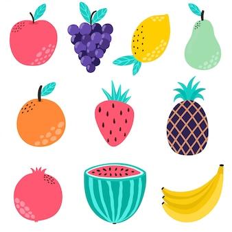 Коллекция рисованной фрукты. отдельные элементы. здоровое питание с клубникой, яблоком, виноградом, лимоном, бананом, арбузом, апельсином, гранатом, ананасом, грушей. иллюстрация