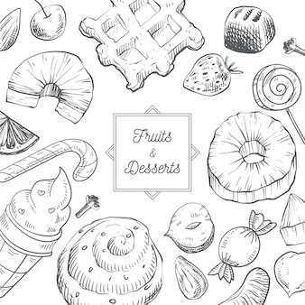Hand drawn fruits and desserts background Premium Vector