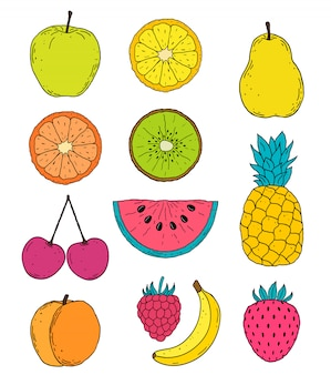 Hand drawn fruits drawing