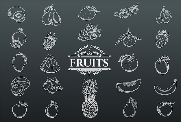Hand drawn fruits icons set.
