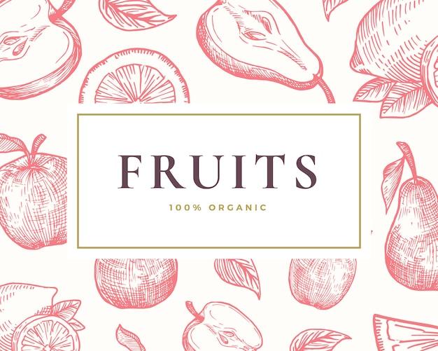 手描きの果物イラストカード。上品なレトロなタイポグラフィと抽象的な手描きのレモン、オレンジ、アップル、ナシのスケッチの背景。