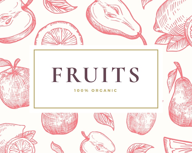 Hand drawn fruits illustration card. abstract  hand drawn lemon, orange, apple and pear sketches background with classy retro typography.
