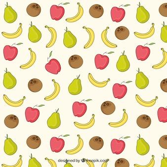 Ручной обращается фрукты в летнее время шаблон