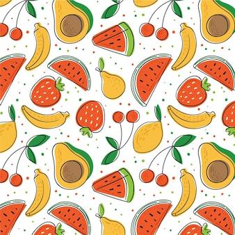 アボカドとスイカの手描きフルーツパターン