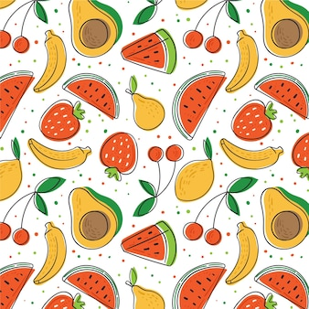 Hand drawn fruits pattern with avocado and watermelon