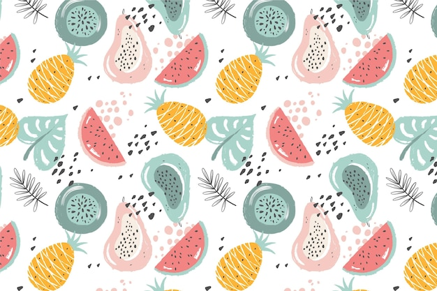 Hand drawn fruits pattern with pineapple and watermelon