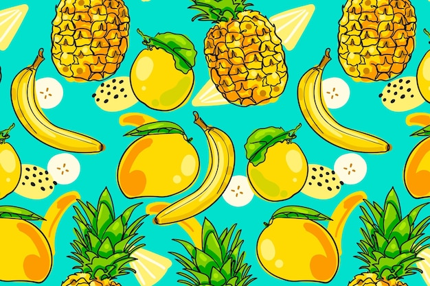 Hand drawn fruits pattern with pineapple