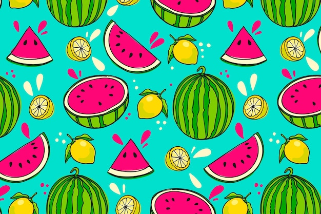 Hand drawn fruits pattern with watermelon
