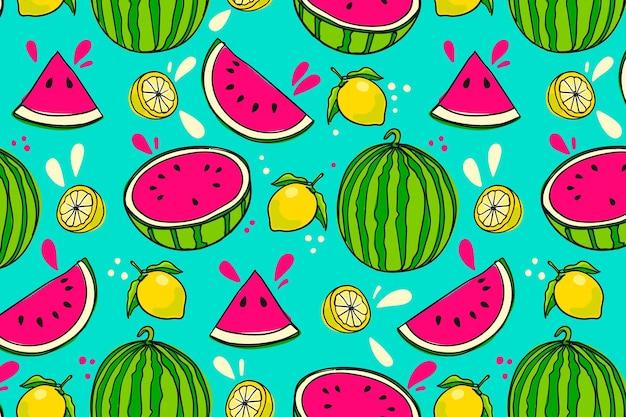 スイカと手描き果物パターン