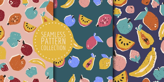 Hand-drawn fruits seamless pattern collection in vector