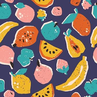 手描きの果物のシームレスパターン