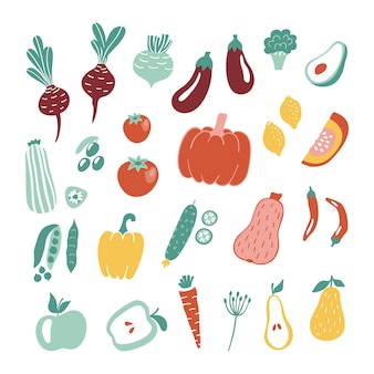 Hand drawn fruits and vegetables collection.