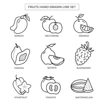 라인 아트 세트로 손으로 그린 과일 라인 아트 세트로 그린 과일 손