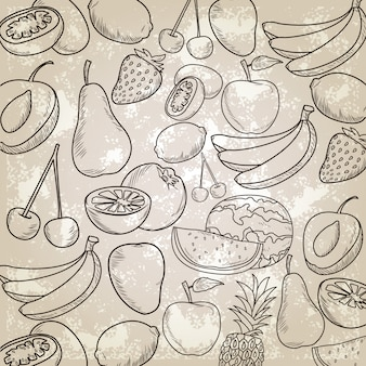 Hand drawn fruits