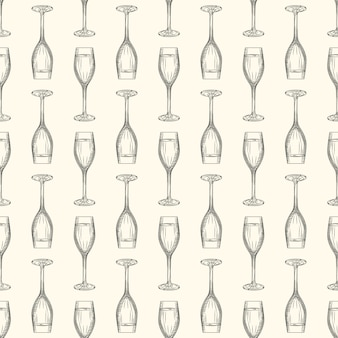 Hand drawn full champagne glass sketch.