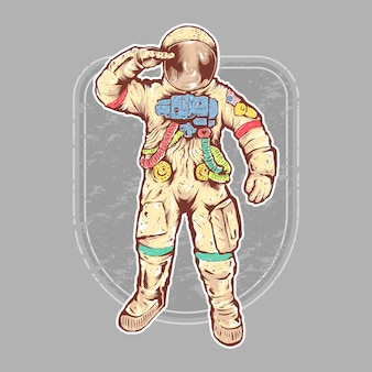 Hand drawn full color astronaut illustration