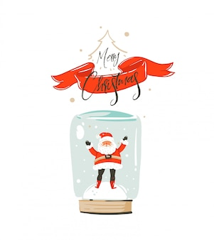 手描きの楽しいメリークリスマスタイムcoonカードとサンタクロースの雪の安物の宝石の電球と白い背景の赤いリボンの書道メリークリスマスのかわいいイラスト