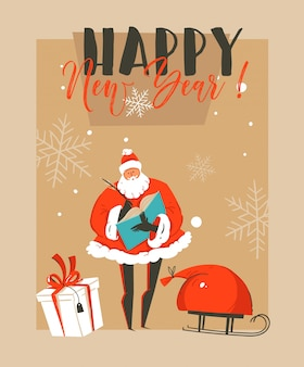 Hand drawn   fun merry christmas time coon illustration greeting card with santa claus,sleigh,surprise gift boxes and happy new year typography  on craft paper background