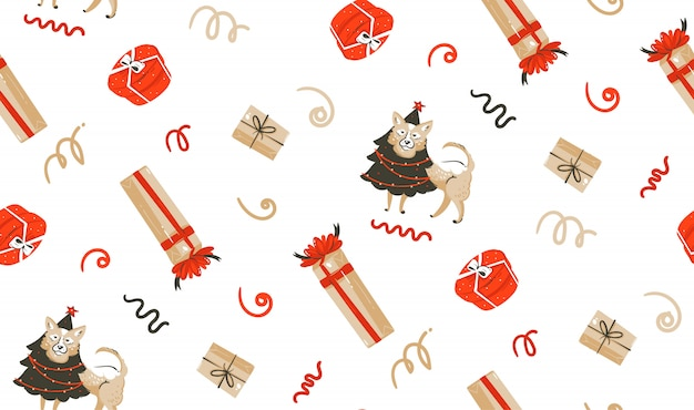 Ручной обращается весело счастливого рождества время енота иллюстрации бесшовные модели с собакой в праздничный костюм и рождественские сюрпризы подарочные коробки на белом фоне