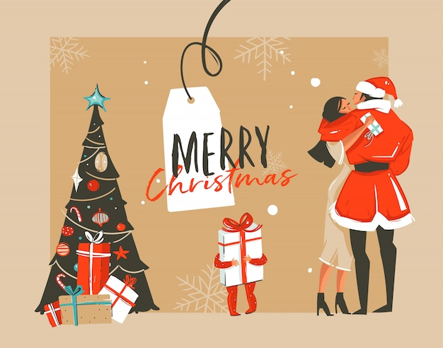 Нарисованная рукой забавная иллюстрация енота времени рождества с романтической парой, которая целуется и обнимается, рождественская елка, маленький ребенок с подарком и типографикой на фоне ремесла