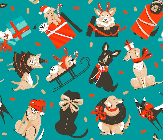 手描きの楽しいストックフラットメリークリスマス、そしてクリスマスのレトロなギフトボックスのかわいい犬のイラストと分離された幸せな新年の時間の漫画のお祭りのシームレスなパターン