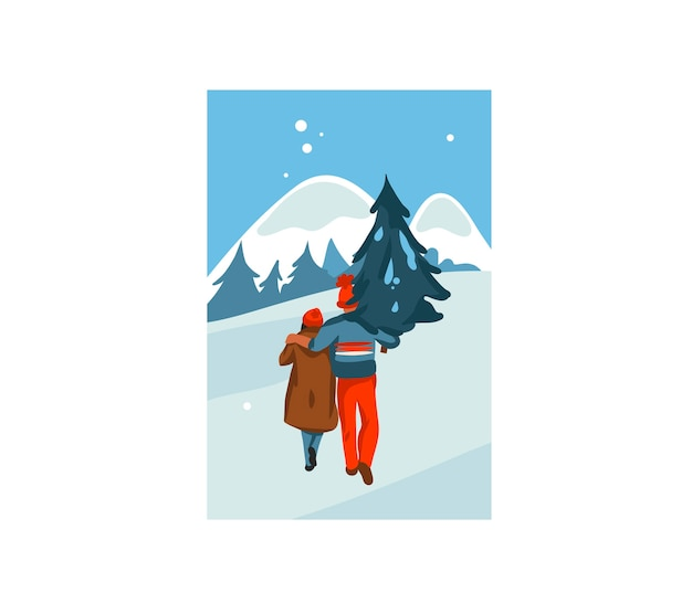 손으로 그린 재미있는 크리스마스 커플의 일러스트와 함께 평면 메리 크리스마스 만화 카드를 함께 구입하고 풍경에 고립 된 집 크리스마스 트리를 운반