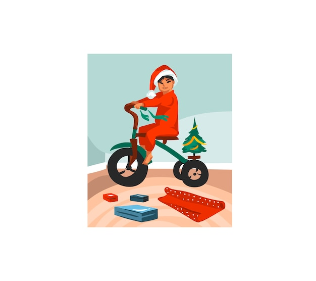 Hand drawn  fun stock flat merry christmas  cartoon festive   illustration of xmas kids unpack gifts at home isolated  .