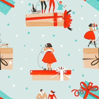 Hand drawn     fun stock flat merry christmas,and happy new year time cartoon festive seamless pattern with cute illustrations of xmas retro gift boxes isolated