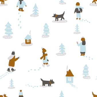 手描きの楽しい冬の時間。人々の犬、木、家とのシームレスなパターン