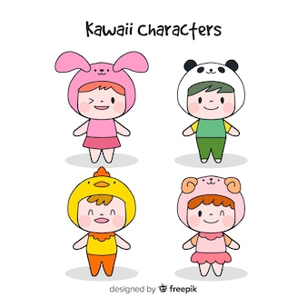 Hand drawn funny characters collection