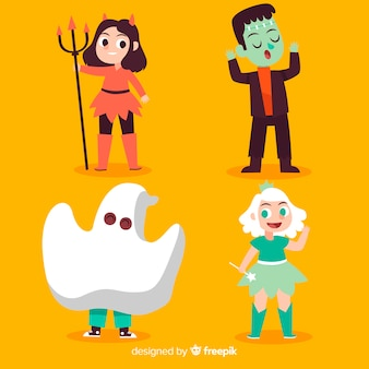 Hand drawn funny  halloween kid collection