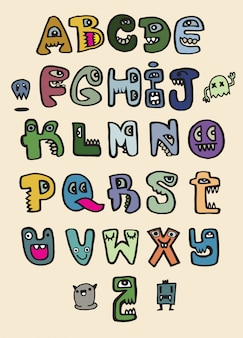 Hand drawn funny monster alphabet