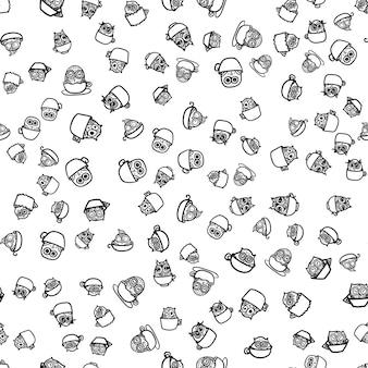 Рисованной смешная сова в чашке. бесшовный узор совы для печати, ткани, упаковки и иллюстраций, игр, интернета и детских предметов. доброе утро или спокойной ночи. вектор