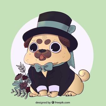 Hand drawn funny pug