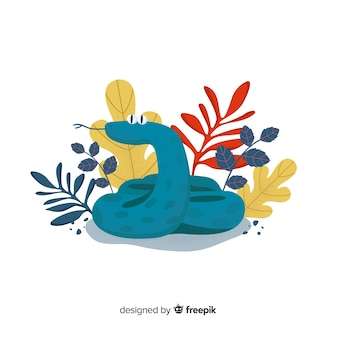 Hand drawn funny snake with flowers background