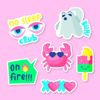 Hand-drawn funny sticker collection with acid colors