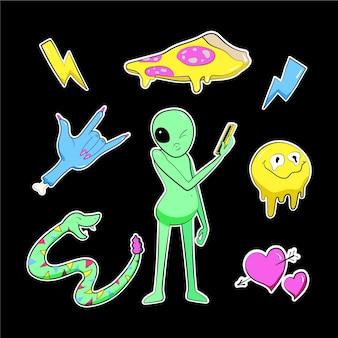 Collezione di adesivi divertenti disegnati a mano con colori acidi