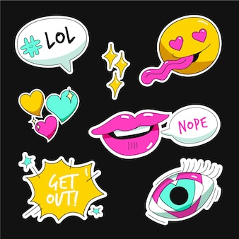 Hand drawn funny sticker collection with acid colors