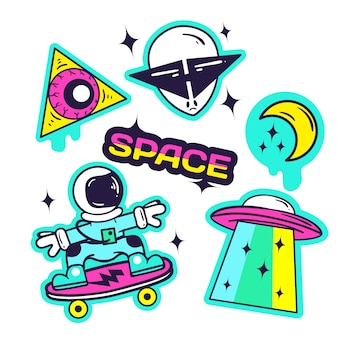 Hand drawn funny sticker collection with space