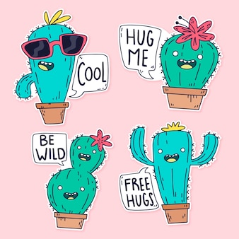 Hand-drawn funny sticker collection