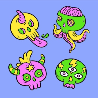 Hand drawn funny sticker pack with acid colors