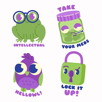 Hand drawn funny sticker pack