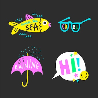Hand-drawn funny sticker set with acid colors