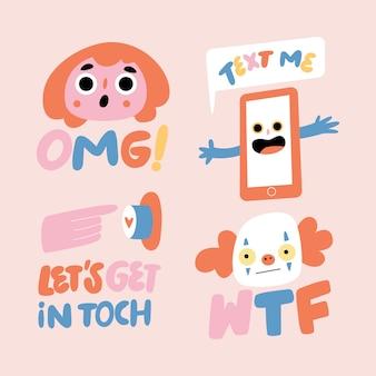 Hand-drawn funny sticker set
